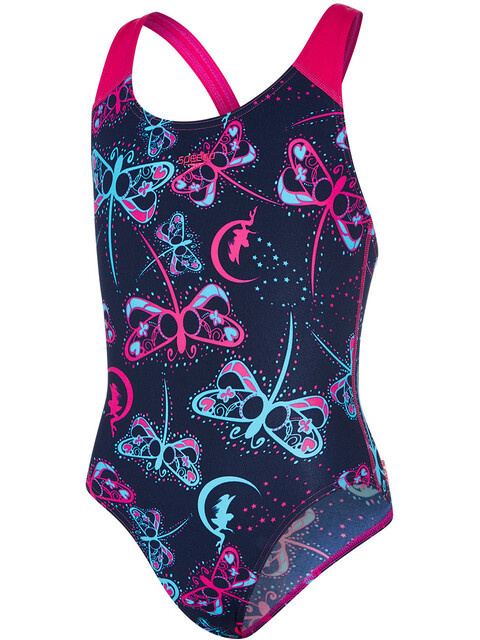 speedo Flashfly Allover Splashback Swimsuit Girls Navy/Turquoise/Electric Pink